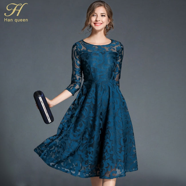 H han queen Autumn Lace Dress Work Casual Slim Fashion O-neck Sexy Hollow  Out Blue Red Dresses Women A-line Vintage Vestidos 7fc4002e5