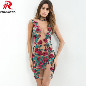 Quick View · Sexy Women Mesh Embroidery Summer Sequins Dress 2018 Off  Shoulder Perspective Floral Luxury Nightclub Woman Party aabde9cdb223