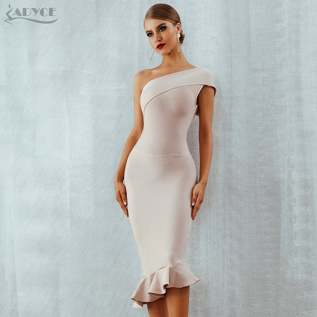Adyce 2018 New Summer Women Bandage Dress Vestidos One Shoulder Sleeve -  Dresses Shopping 722461777bbe