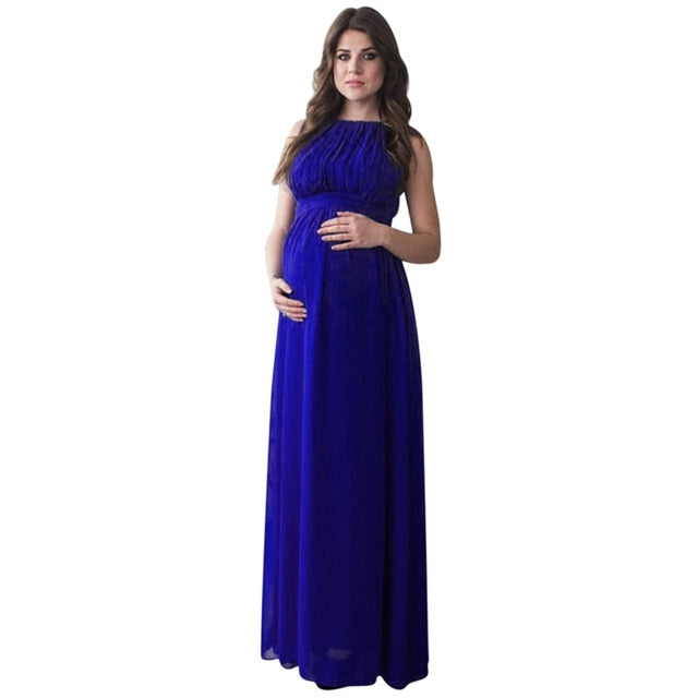 b0f228f23fb New Maternity Clothing Women Pregnant Dress Solid Color Drape Photography  Props Casual Nursing Elegant Long Dress Summer 2018