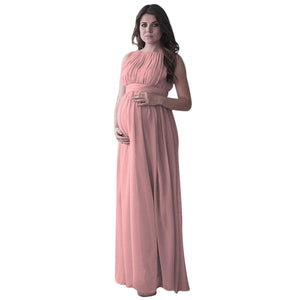 ... New Maternity Clothing Women Pregnant Dress Solid Color Drape  Photography Props Casual Nursing Elegant Long Dress 000c27d921e5