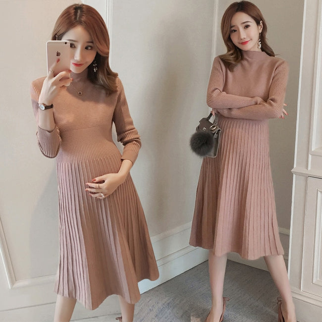 Long Sleeve Elegant Maternity Knited Dresses Autumn Winter Maternity  Sweaters Dress for Pregnant Women Office Lady Party Clothes 2d19f3e88d57