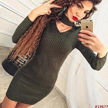 f099291464 Women Clothes 2018 Autumn Long Sleeve Bodycon Casual Dress Fall Winter  Slimming Solid Color Elegant Temperament Quality Dresses