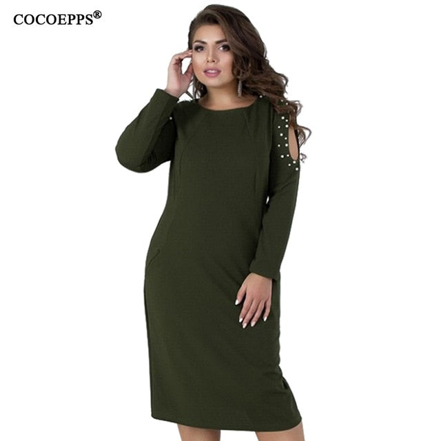 5XL 6XL 2019 Winter Big Size Women Dress Spring Long Sleeve Large Plus Size  Dress Casual Hollow out Ladies Elegant Party Dresses 25db4d2f7350