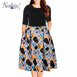 Quick View · Nemidor 2019 Women Vintage O-neck Half Sleeve Print A-line  Dress Plus Size ... 648f24c858c8