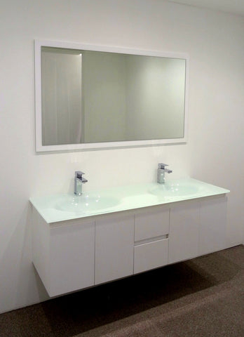 Art Integrated  Double Bathroom Vanity 1500mm White Cabinet Glass Top