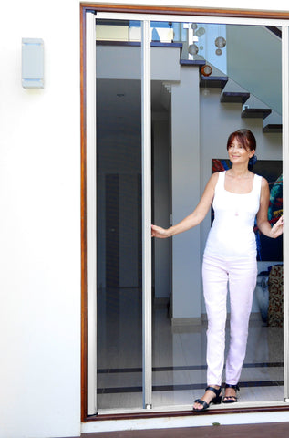 Single Retractable Screen Door 1500mmW x 2100mmH - White Colour Fly screens for French Doors - Aluminium