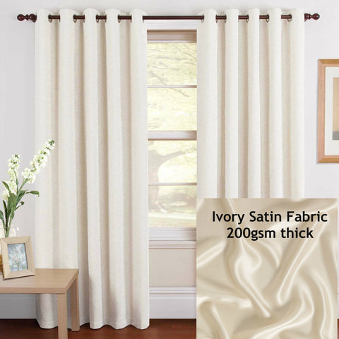 Eyelet Satin Curtains Pair Gloss Ivory Two Panels  Window Covering