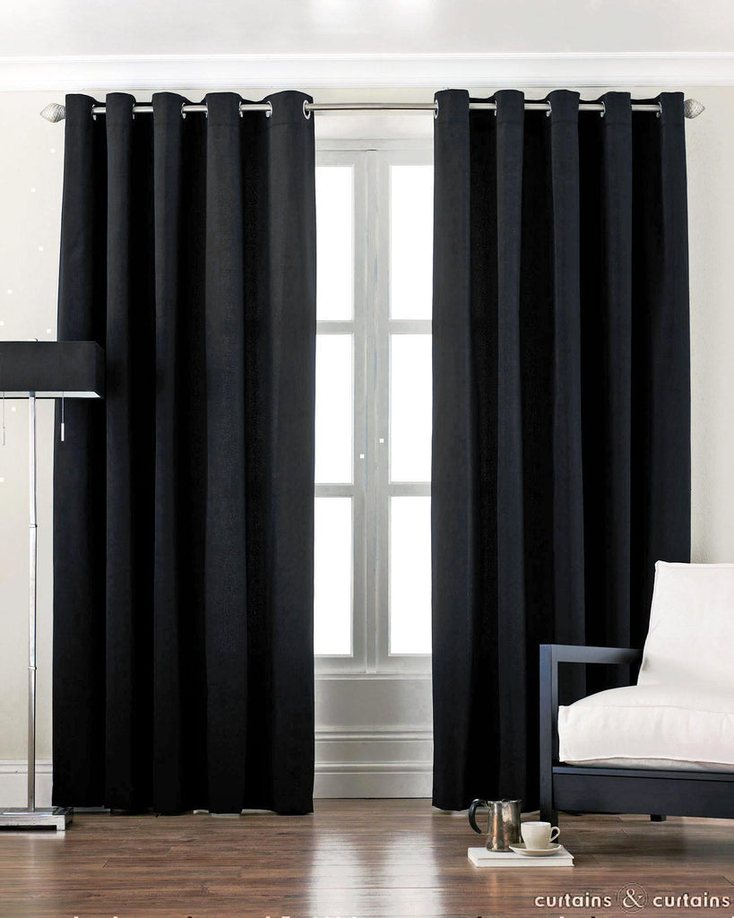Bedroom curtain ideas black -  Eyelet Satin Curtains Pair Gloss Black Fabric Two Panels Thick 200 Gsm Windows Covering