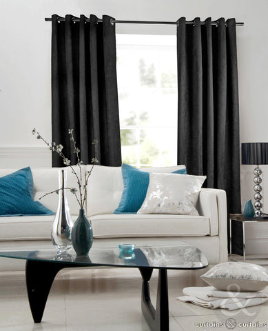Eyelet Satin Curtains Pair Gloss Black Fabric Two Panels Thick 200 gsm Windows Covering