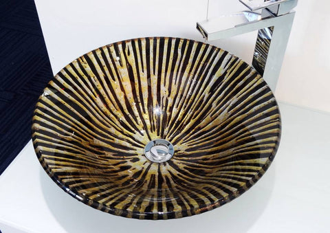 New Basin Glass Art For Bathroom Vanity Unit Hand Made Round Shape