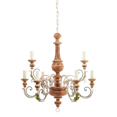 H2-002 - 9 Light Chandelier, Wood and Wrought Iron with Leaf Design