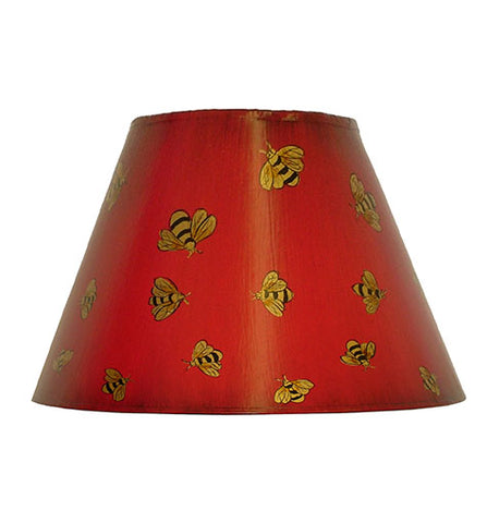 Empire Hand Painted Card Lampshade - Deep Red Bees