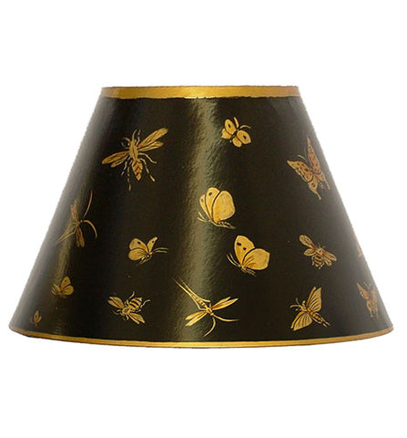 Empire Hand Painted Card Lampshade - Black Bugs