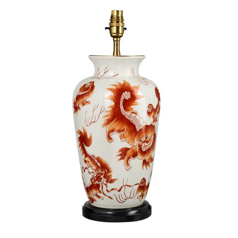 T7-011 - Basket Lamp, Foo Dog Design Ceramic