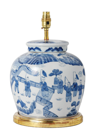 T7-014 - Blue/White Ginger Jar Ceramic Table Lamp, Gilded Base