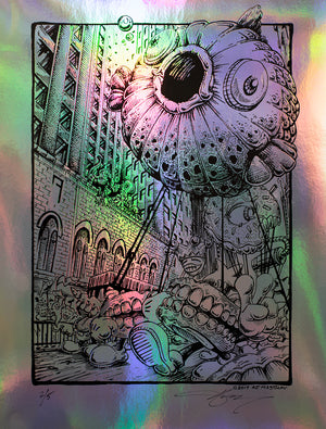 "AJ Masthay ""Cutting My Teeth"" - Rainbow Foil Line Art Variant"