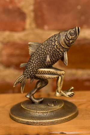 "Jim Pollock ""Walking Fish"" Bronze Plated Antique Pewter Statue"