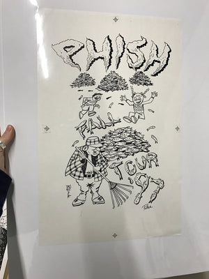 Phish Fall '97 Fish Leaves Shirt Back proof w/ crop marks