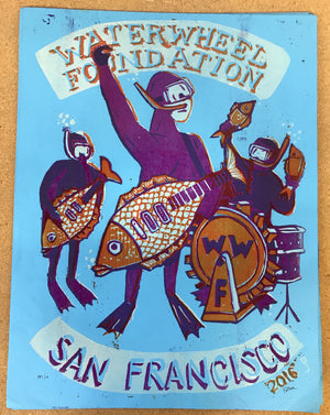 "Jim Pollock ""Waterwheel Foundation - San Francisco"" Blue Paper"