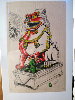 Foo Dog OG Marker & Pencil Sketch