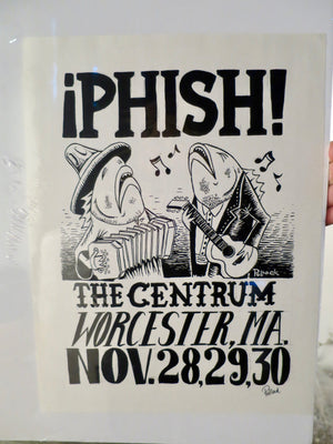 Phish Centrum Thanksgiving '93 Singing Accordian & Guitar Fish Shirt - C
