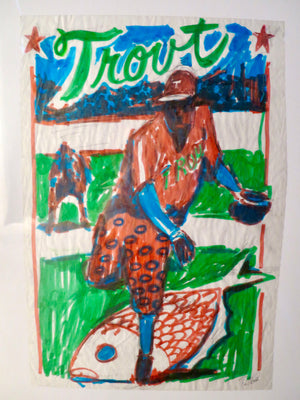 Phish OG Chicago '94 Baseball Card Concept Sketch - Trout