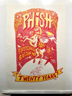 Phish Boston '03 20th Anniversary Red & Yellow Test Print