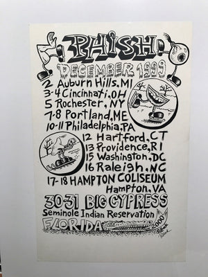 Phish December '99 Tour Shirt Back with Big Cypress Final design- A