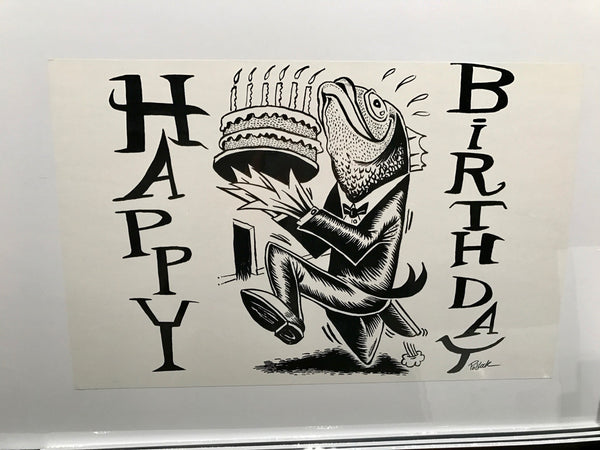Phish 1994 Happy Birthday (2000 postcard) Fish With Cake Proof - A