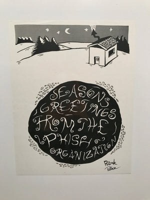 Phish 1990's Seasons Greetings holiday card image (Pond,Snow, Ice house)