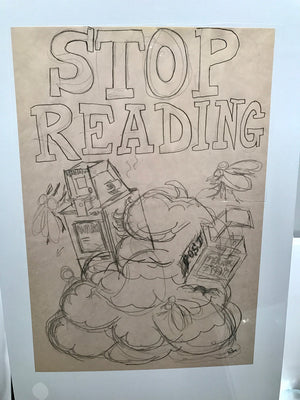 "All The Shit That's Fit to Print ""Stop Reading"" War Newspaper Box OG Concept Sketch"