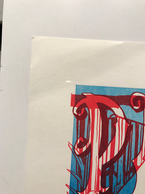 Phish Alpine '09 Uncut Red & Blue Test Print - B edgewear
