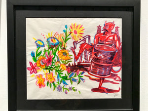 OG Devil Floral Oil Marker Sketch '09 - Framed