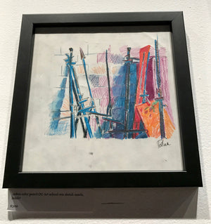 1980s color pencil Goddard-era OG sketch easels, ladder
