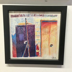 1980s Color Pencil OG Goddard-Era Sketch Doors & Fire Extinguisher
