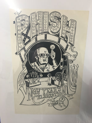 Phish Dr. Pong Lab '95-96 NYE Shirt Graphic Proof - B & W