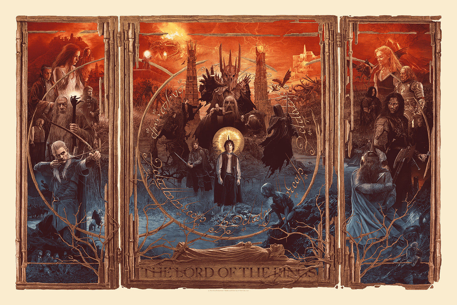 """Gabz """"The Lord of the Rings Triptych"""" Timed Edition - Bottleneck Art Gallery"""