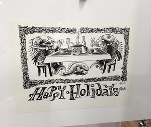 "Jim Pollock ""Phish 1990s Happy Holidays (also '02 Greeting Card)""  B&W Proof"