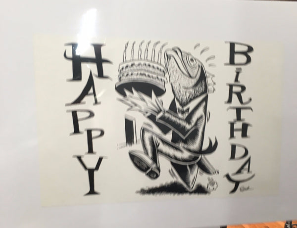 "Jim Pollock"" Phish 1994 Happy Birthday (2000 Postcard) Fish with cake proof"" - B"