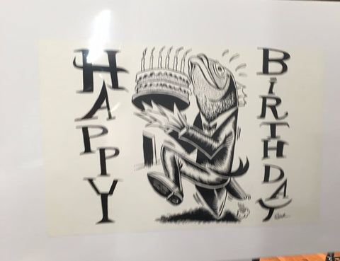 Phish 1994 Happy Birthday (2000 Postcard) Fish with cake proof - B