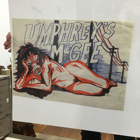 Umphrey's Mcgee Naked Woman w/ Gas Mask Concept Sketch OG - B