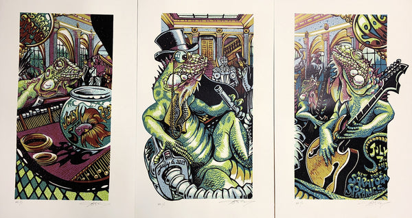 "AJ Masthay ""SPAC"" Triptych - Watercolor Variant"