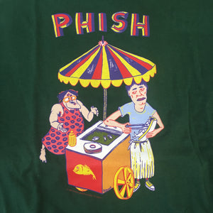 T-Shirt: Dark Green Phish NYE Boston Garden '94 Hot Dog Stand front - XL