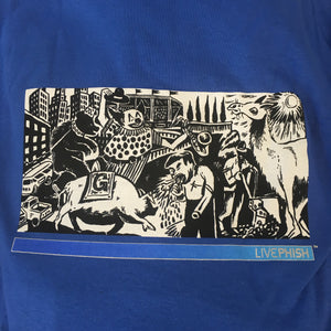 T-Shirt: Blue Live Phish (clown, puking, camel) - L