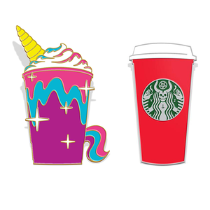 """Unicorn & The Red Cup"" Enamel Lapel Pin SET"