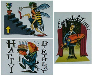 "Jim Pollock ""Phish 1994 Happy Birthday (2000 postcard) Fish With Cake Proof"" - A"