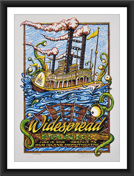 "AJ Masthay ""Widespread Panic - Mud Island"" Watercolor"