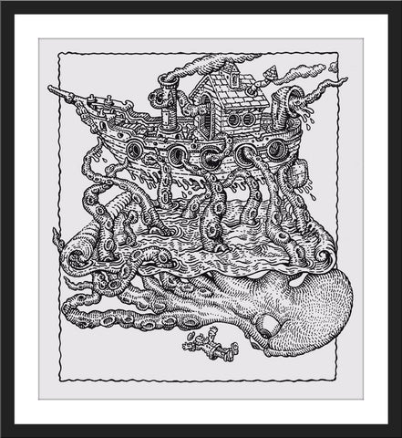 "David Welker ""The Captain's Demise"" Letterpress"