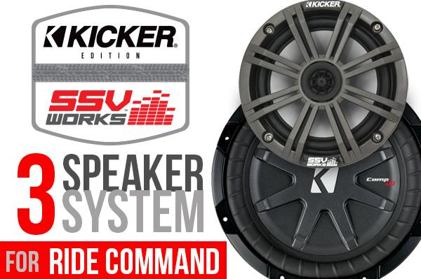 RZR Turbo S Kicker 3 Speaker Plug & Play System - Ride Command-Stereo-SSV Works-Black Market UTV